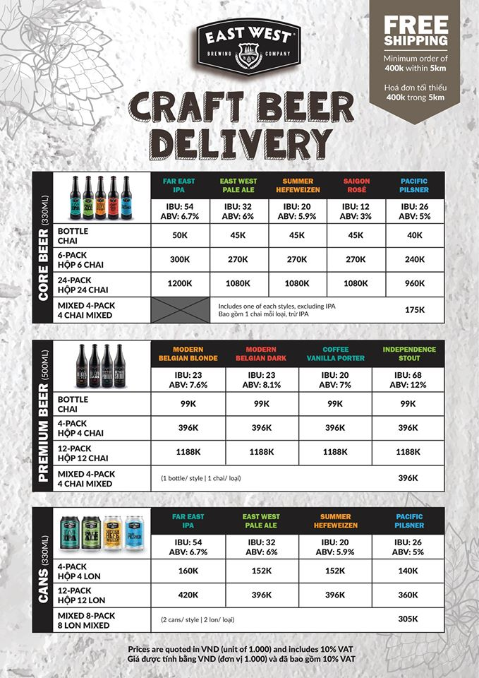 Thực đơn mua bia craft mang về của East West Brewing